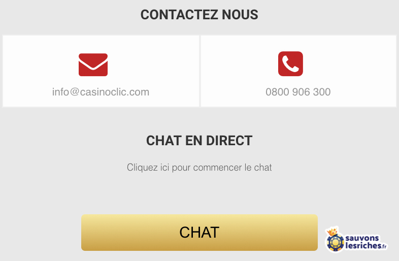 contact support client casino clic