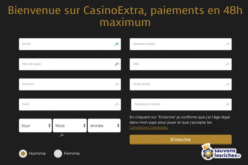 casino extra inscription