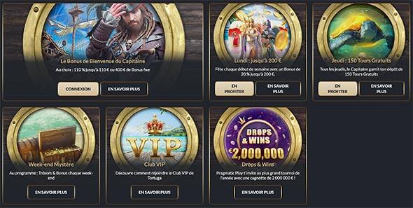 Les Bonus du Casino Tortuga