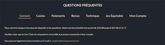 Service Client Tortuga Casino