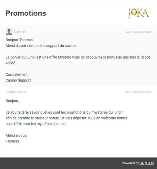 Support Client Joka Casino