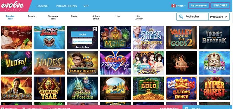 casino evolve capture d'écran des jeux