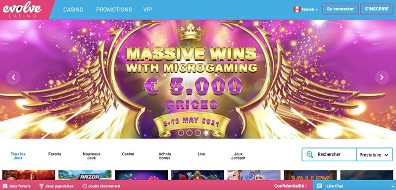 casino evolve capture d'écran interface