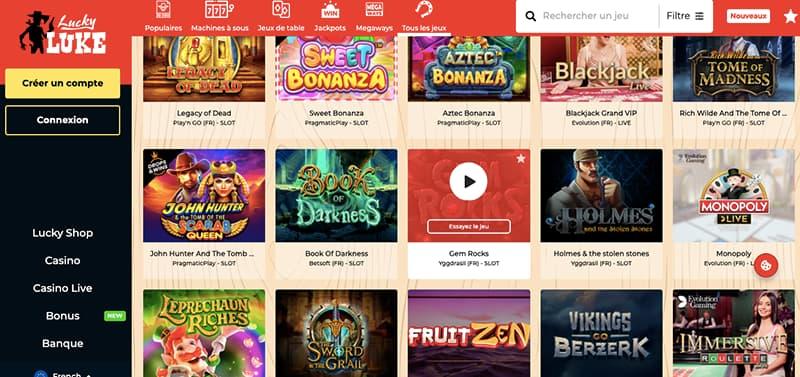 lucky luke casino capture d'écran des jeux