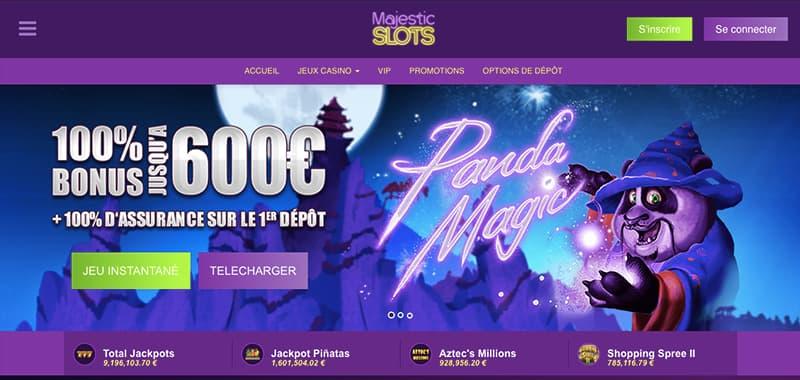 majestic slots casino capture d'écran interface
