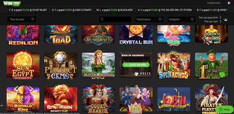winoui casino capture d'écran interface